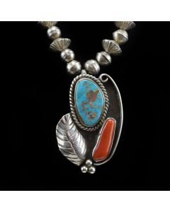 """Navajo Turquoise, Coral and Silver Necklace with Stamped Feather Design c. 1960s, 24"""" length"""