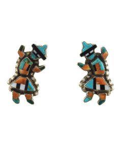 "Zuni Multi-Stone Inlay and Silver Rainbow God Post Earrings c. 1940s, 1.5"" x 0.75"""