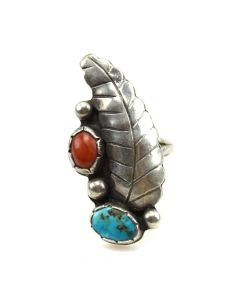 Navajo Turquoise, Coral and Silver Ring c. 1960s, size 7.5