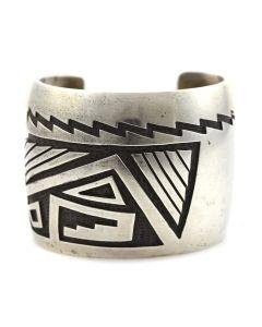 Manuel and Karen Hoyungwa - Hopi Silver Overlay Bracelet c. 1970s, size 8