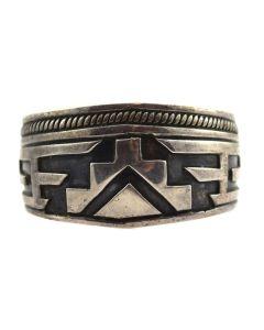 Hopi Silver Overlay Bracelet c. 1950s, size 6.5