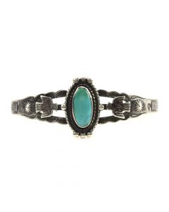 Navajo Turquoise and Silver Bracelet with Eagle Design c. 1930-40s, size 6.5