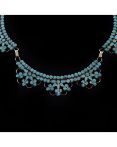 "Dishta - Zuni Turquoise and Silver Inlay Necklace c. 1940s, 20.5"" length"