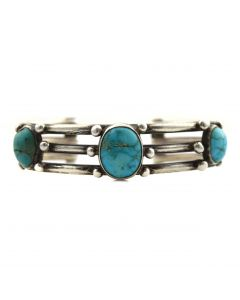 Navajo Turquoise and Silver Bracelet c. 1910s, size 6.5