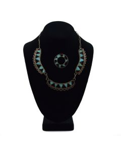 Zuni Turquoise and Jet Channel Inlay and Silver Necklace and Pin Set c. 1940s