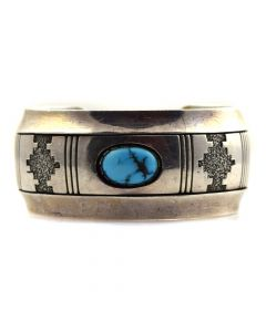 Alfred Joe - Navajo Turquoise and Sterling Silver Overlay Bracelet c. 1970-80s, size 6.5