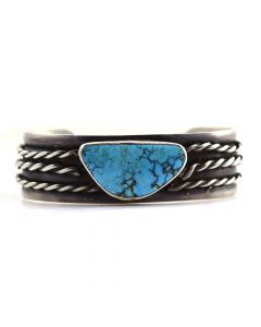 Navajo Turquoise and Silver Bracelet with Twisted Wire Design c. 1960s, size 6.5