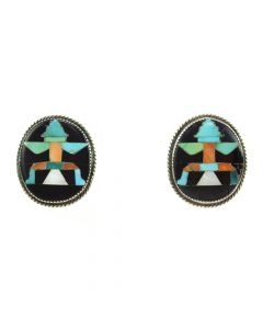 "John Gordon Leek - Zuni Multi-stone Inlay and Silver Post Earrings c. 1940s, 1"" x 0.875"""
