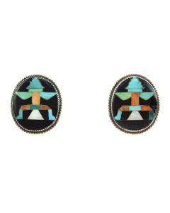 "John Gordon Leek - Zuni Multi-stone Inlay and Silver Post Earrings c. 1940s, 1"" x 0.875"""