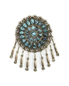 """Zuni Turquoise and Silver Pin c. 1970s, 3.5"""" x 2.75"""""""