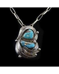 """Navajo Morenci Turquoise and Silver Necklace with Feather Design c. 1960-70s, 18"""" length"""