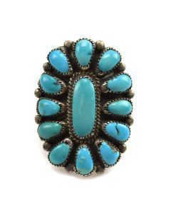 Jane Paselente - Zuni Turquoise and Silver Ring c. 1960-70s, size 5