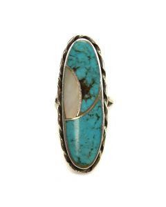 Nelson Lee - Turquoise and Mother of Pearl Channel Inlay Ring c. , size 5