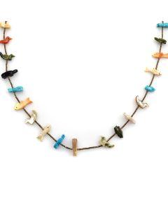 """Zuni Multi-Stone Fetish and Heishi Necklace c. 1970s, 27"""" length"""
