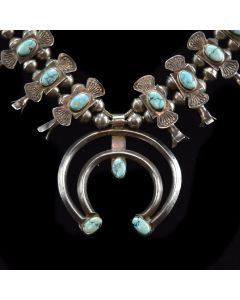 "Navajo Turquoise and Silver Box and Bow Design Squash Blossom Necklace c. 1930s, 23.5"" length"
