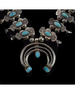 "Navajo Turquoise and Silver Box and Bow Design Squash Blossom Necklace c. 1930s, 21.5"" length"