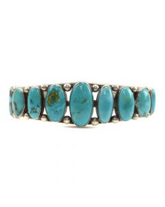 Navajo Turquoise and Silver Bracelet c. 1950-60s, size 7