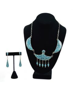 Frank Vacit - Zuni Number 8 Turquoise Channel Inlay and Silver Necklace and Post Earrings Set c. 1960s