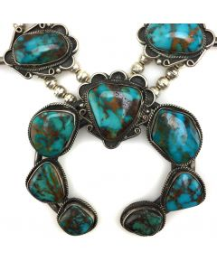 "Navajo Turquoise Mountain Turquoise and Silver Squash Blossom Necklace c. 1950s, 24.5"" length (J9964)"