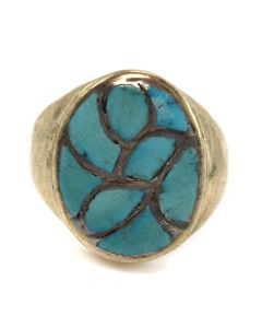 Zuni Morenci Turquoise Channel Inlay and Silver Ring c. 1960s, size 11.25