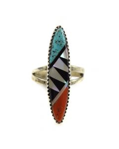 Nickoles Martinez - Zuni Multi-Stone Inlay and Silver Ring c. 1960s, size 6