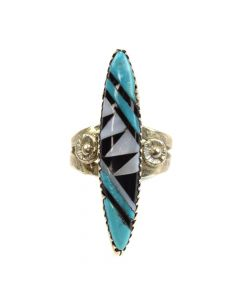 Nickoles Martinez - Zuni Multi-Stone Inlay and Silver Ring c. 1960s, size 5.25