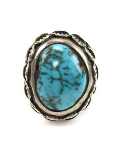 Tom Weahkee - Zuni Turquoise and Silver Ring c. 1960s, size 7.5