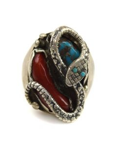 Dan Simplicio - Zuni Turquoise, Coral, and Silver Ring with Snake Design c. 1960s, size 9.75
