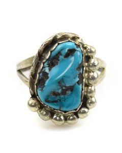 Rose Jackson - Navajo Turquoise and Silver Ring c. 1960s, size 5.5