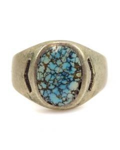 Charlie Bitsue Wilson - Navajo Number 8 Turquoise and Silver Ring c. 1950s, size 9.25