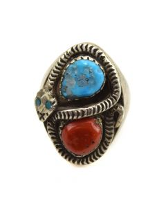 Juan Calavaza - Zuni Turquoise, Coral, and Silver Ring with Snake Design c. 1960s, size 9.25