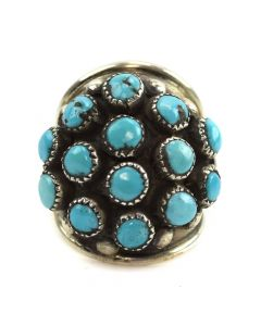 Navajo Turquoise Cluster and Silver Ring c. 1960s, size 5.25