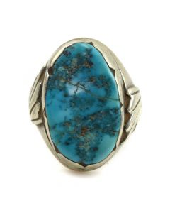 Juan De Dios - Zuni Turquoise and Silver Ring c. 1950s, size 9.5