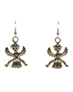 """Zuni Silver Knifewing God Hook Earrings c. 1940s, 1.75"""" x 1"""""""
