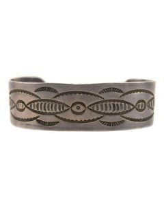 Stamped Silver Navajo Bracelet, c. 1940s, Size 7