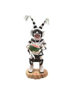"Andrew Grover - Contemporary Hopi Clown Kachina with Melon, 10"" x 4"" x 5"""