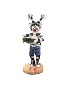 "Andrew Grover - Contemporary Hopi Clown Kachina with Melon, 9"" x 3.5"" x 4"""