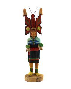 "Leo Lacapa - Hopi Polimana Butterfly Maiden Kachina c. 2002, 10"" x 2.75"" x 2.5"" (K1608)"