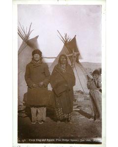 "William R. Cross (1839-1907) - Crow Dog and Squaw, Pine Ridge Agency, Jan. 18th, 1891, 8.5"" x 5.25"" (M1059D)"