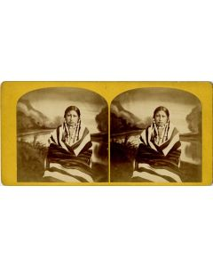 Stereoview of Sioux Woman with First Phase Chiefs Blanket