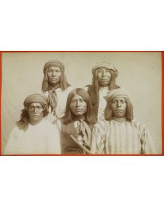 """Baker and Johnston Photography - Group of Apache Prisoners, 1880, 4.25"""" x 6.75"""" (M1400)"""