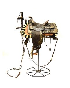 """D.E. Walker Saddle with Stand c. 1940-50s, 18"""" x 30"""" x 21"""" (M90351B-0720-001)"""
