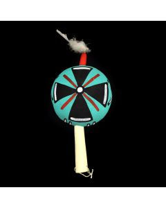"""Hopi Rattle with Cross Design c. 1980s, 9.5"""" x 5"""" x 3"""""""