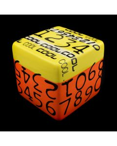 "Kaiser Suidan - Orange and Yellow ""COOL"" Numbered Porcelain Cube"