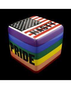 Kaiser Suidan - Pride Flag and American Flag with Word Collage Porcelain Cube