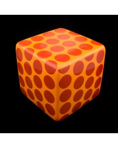 "Kaiser Suidan - Orange and Red Polka Dot Porcelain Cube, 4"" x 4"" x 4"""