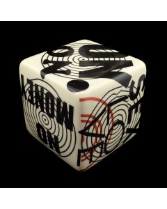 Kaiser Suidan - Black, White, and Red Word Collage Cube