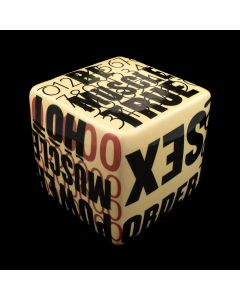 Kaiser Suidan - Black and Cream Colored Porcelain Word Collage Cube