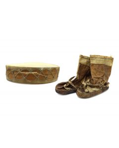 Alaskan Child's Leather Moccasins and Leather and Wooden Drum c. 1900s (M1763)