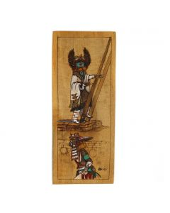 """Hopi Wooden Plaque with Crow Mother Kachina Pictorial c. 1990s, 9.75"""" x 4"""" x 0.5"""" (M1783)"""